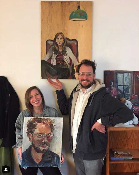 Matching portraits of SJQ & Desert Liminal's beloved recording engineer, Brian Sulpizio. Painted by Shaina Hoffman
