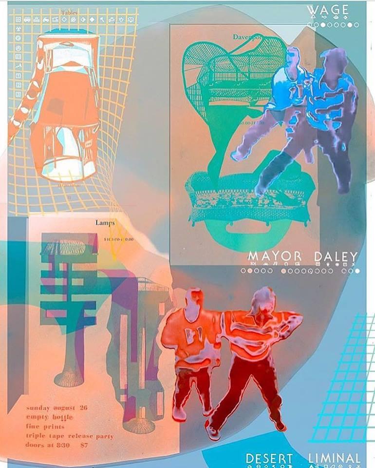 WAGE, Mayor Daley, Desert Liminal EP Release flyer by Dan Luetke for Fine Prints Label Launch