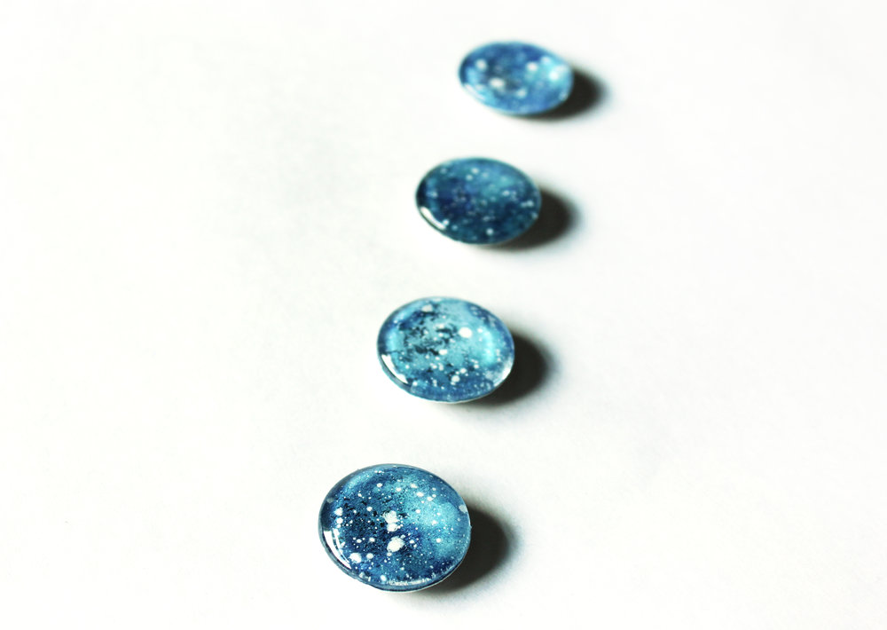 Hand Painted Blue Watercolor Galaxy Cabochon Magnets