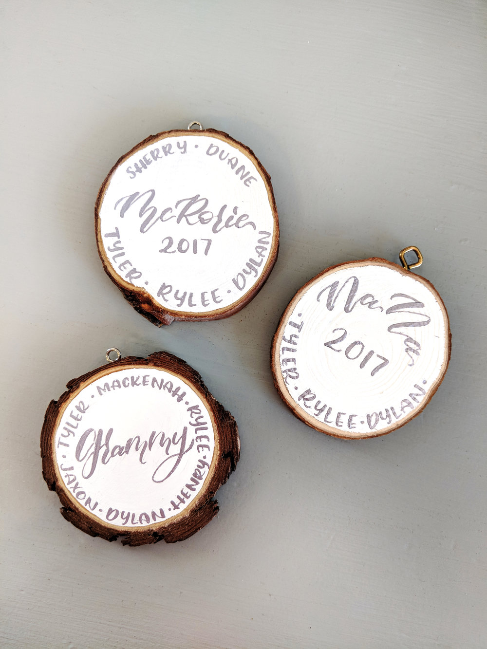 Custom Holiday Wooden Ornaments with a Name Border
