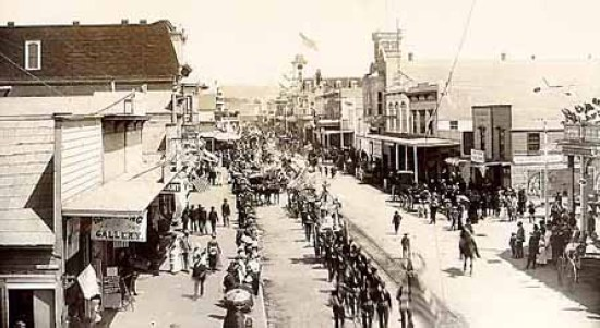 PARADE ON PACIFIC AVENUE, SOMETIME DURING THE 1880'S.