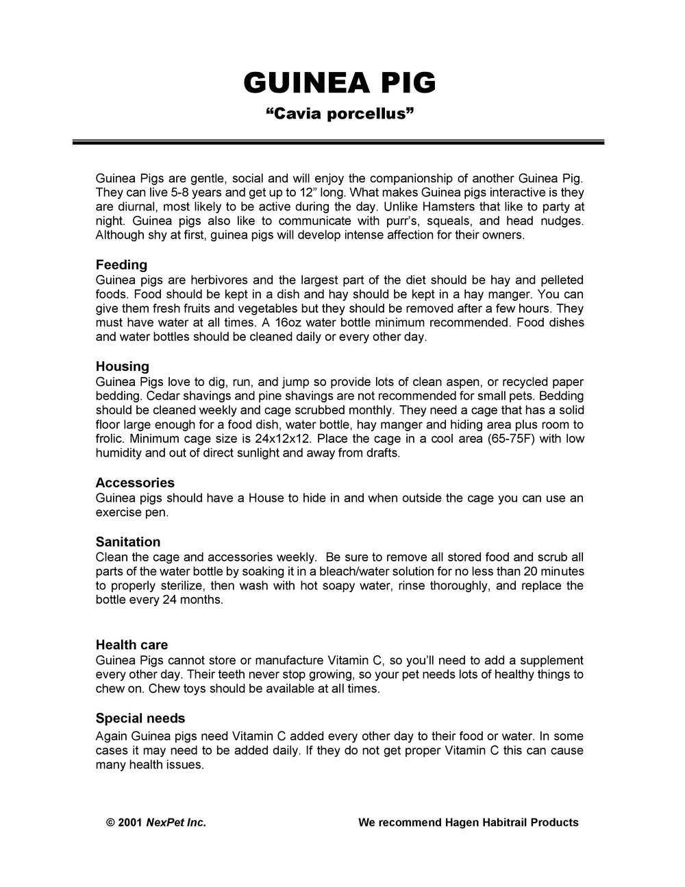 Guinea Pig Care Sheet pg1