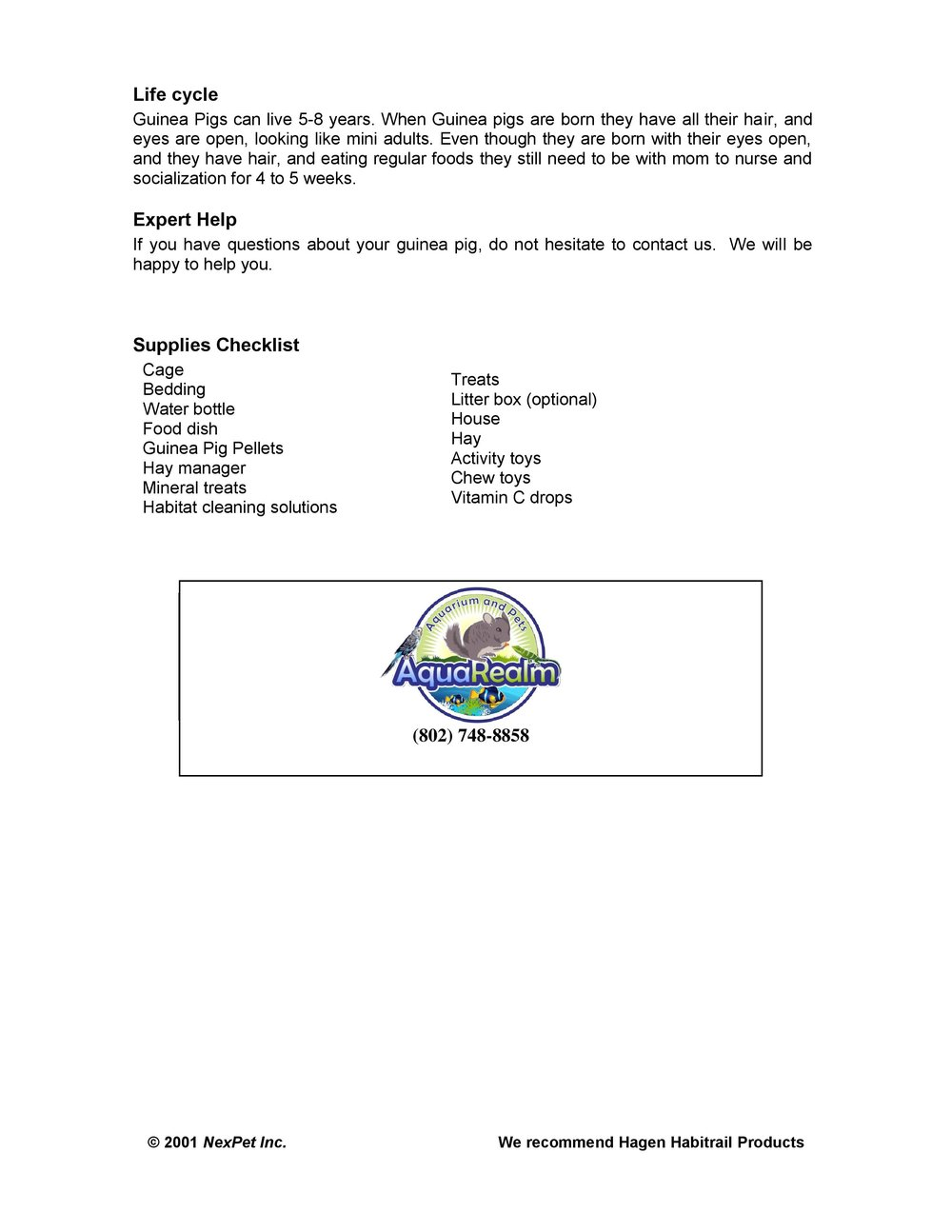 Guinea Pig Care Sheet pg2