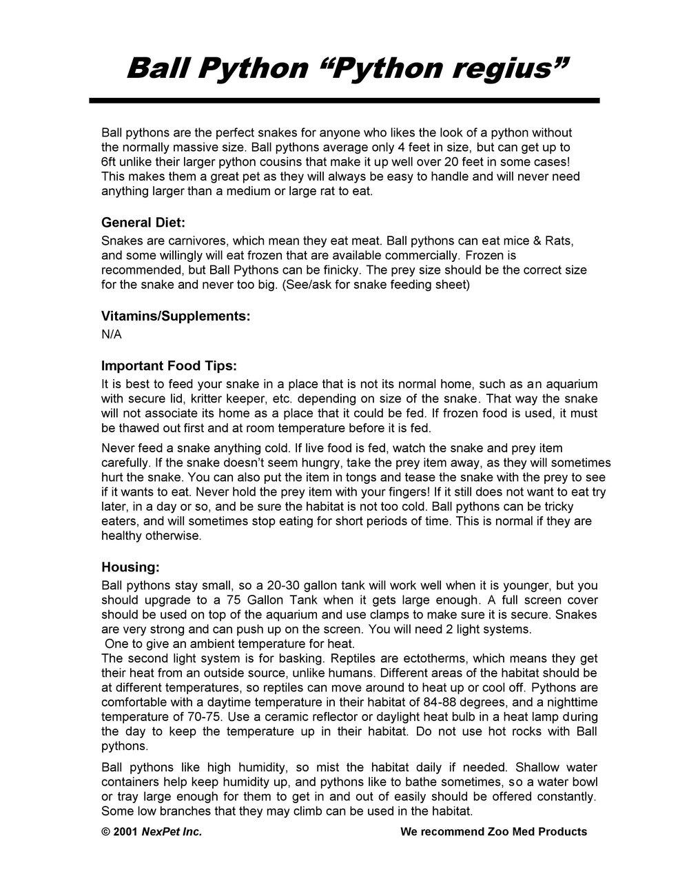 Ball Python Care Sheet Pg1