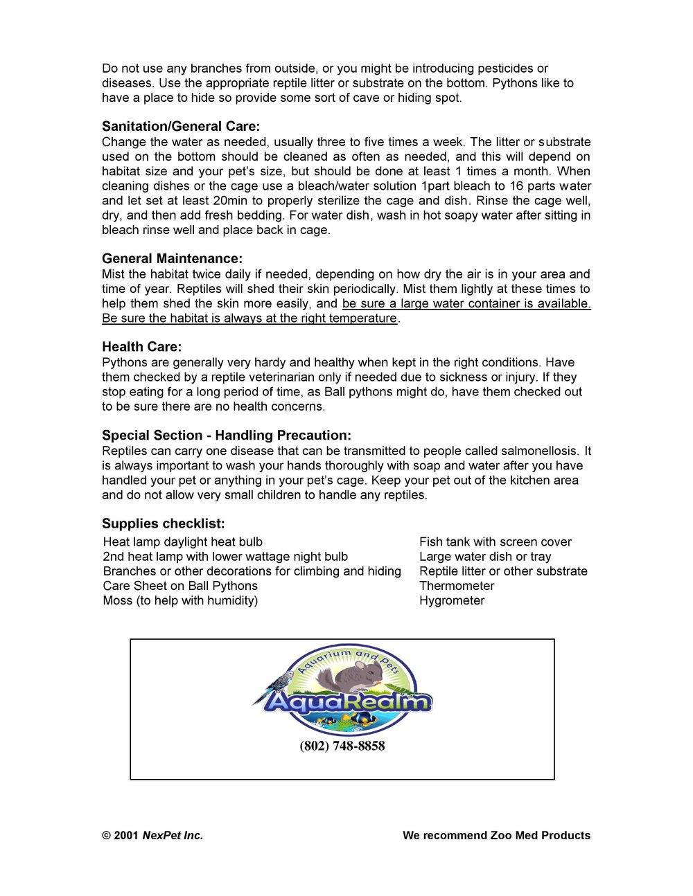 Ball Python Care Sheet pg2