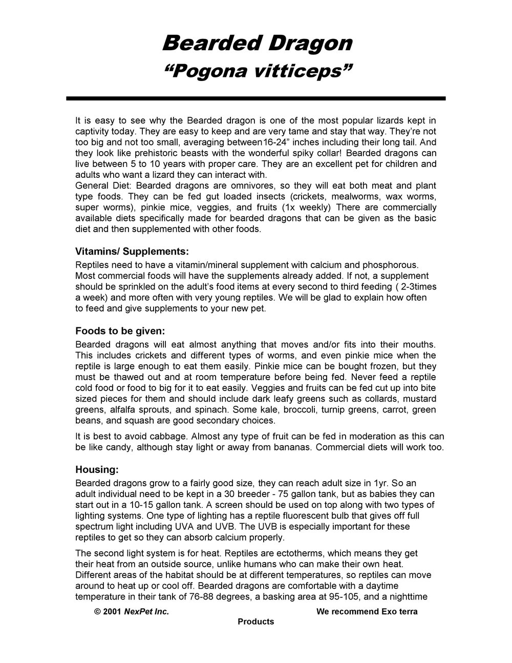 Bearded Dragon Care Sheet pg1