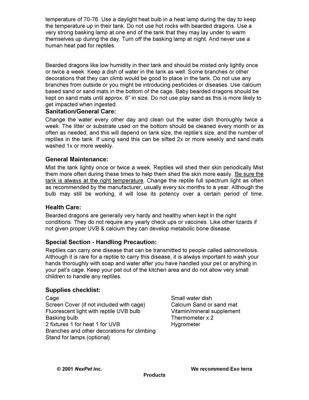 Bearded Dragon Care Sheet pg2