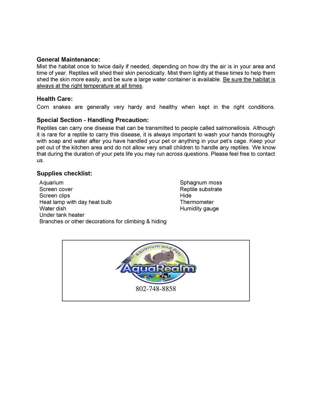 Corn Snake Car Sheet pg2
