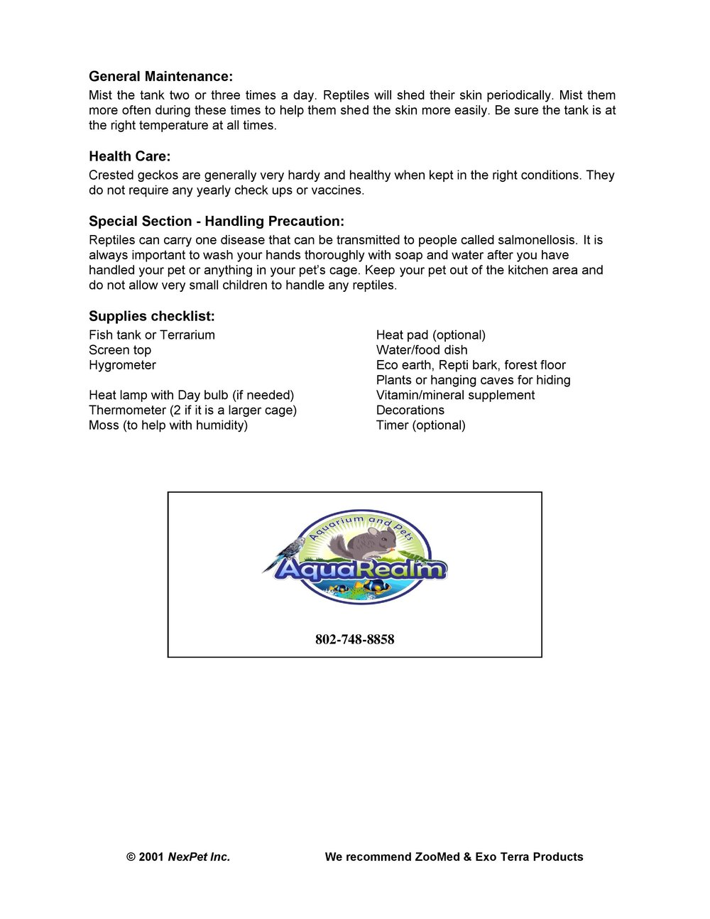 Crested Gecko Car Sheet pg2
