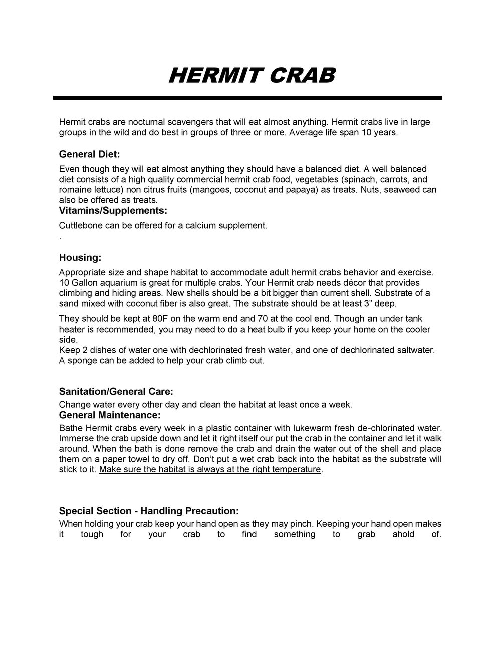 Hermit Crab Care Sheet pg1