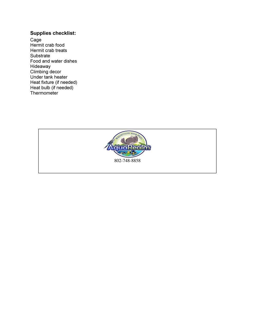 Hermit Crab Care Sheet pg2