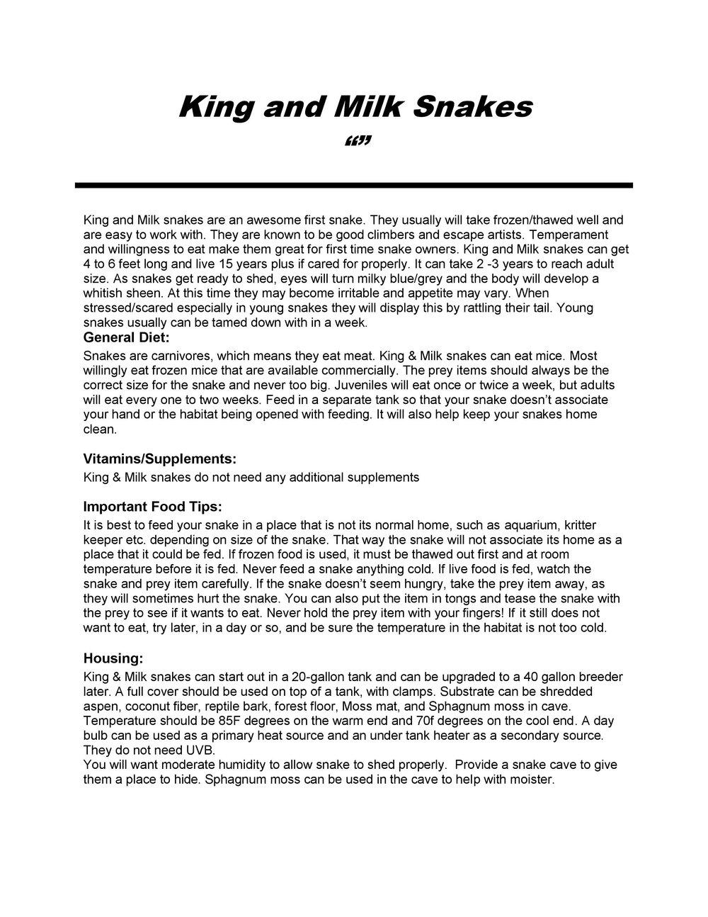 King Milk Snake Care Sheet pg1
