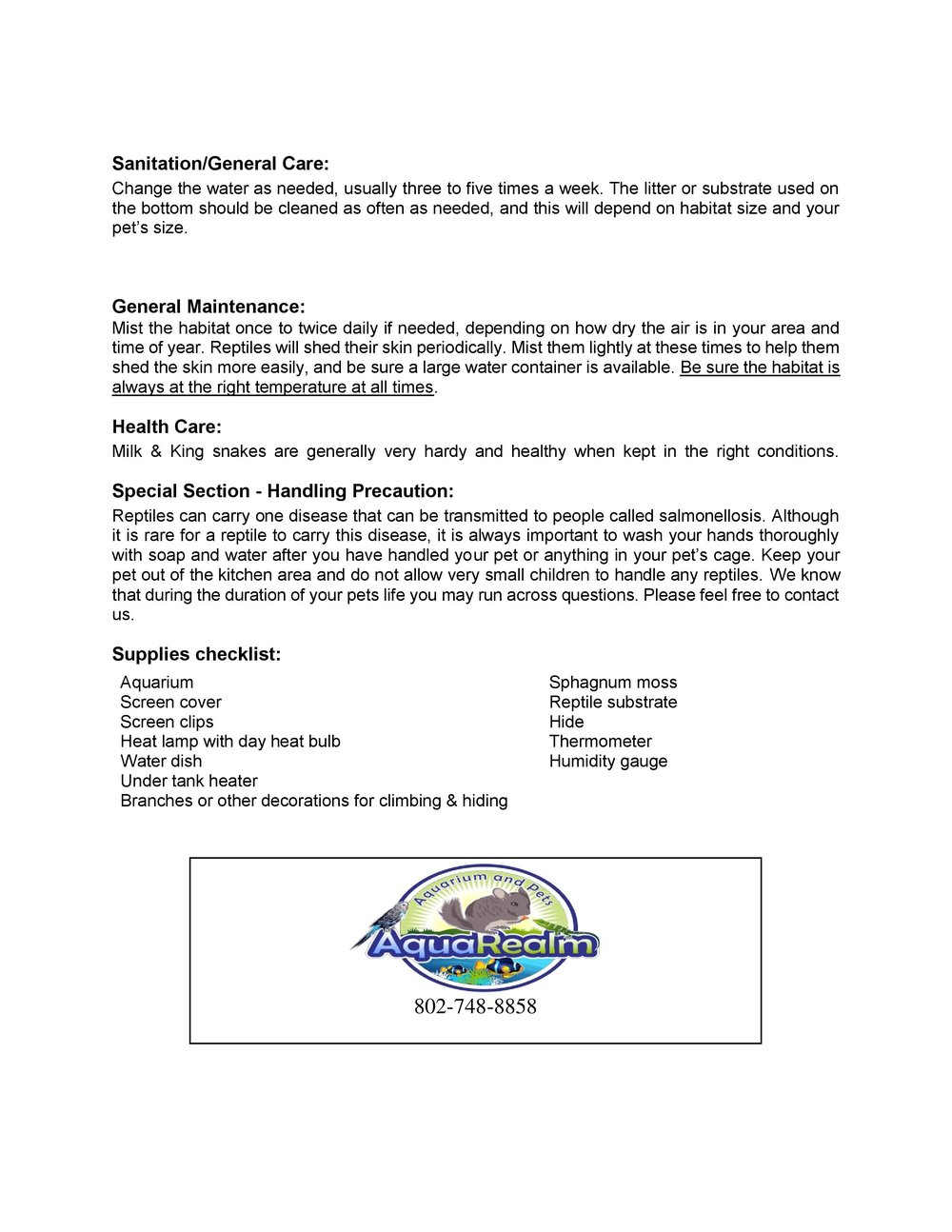 King Milk Snakes Care Sheet pg2