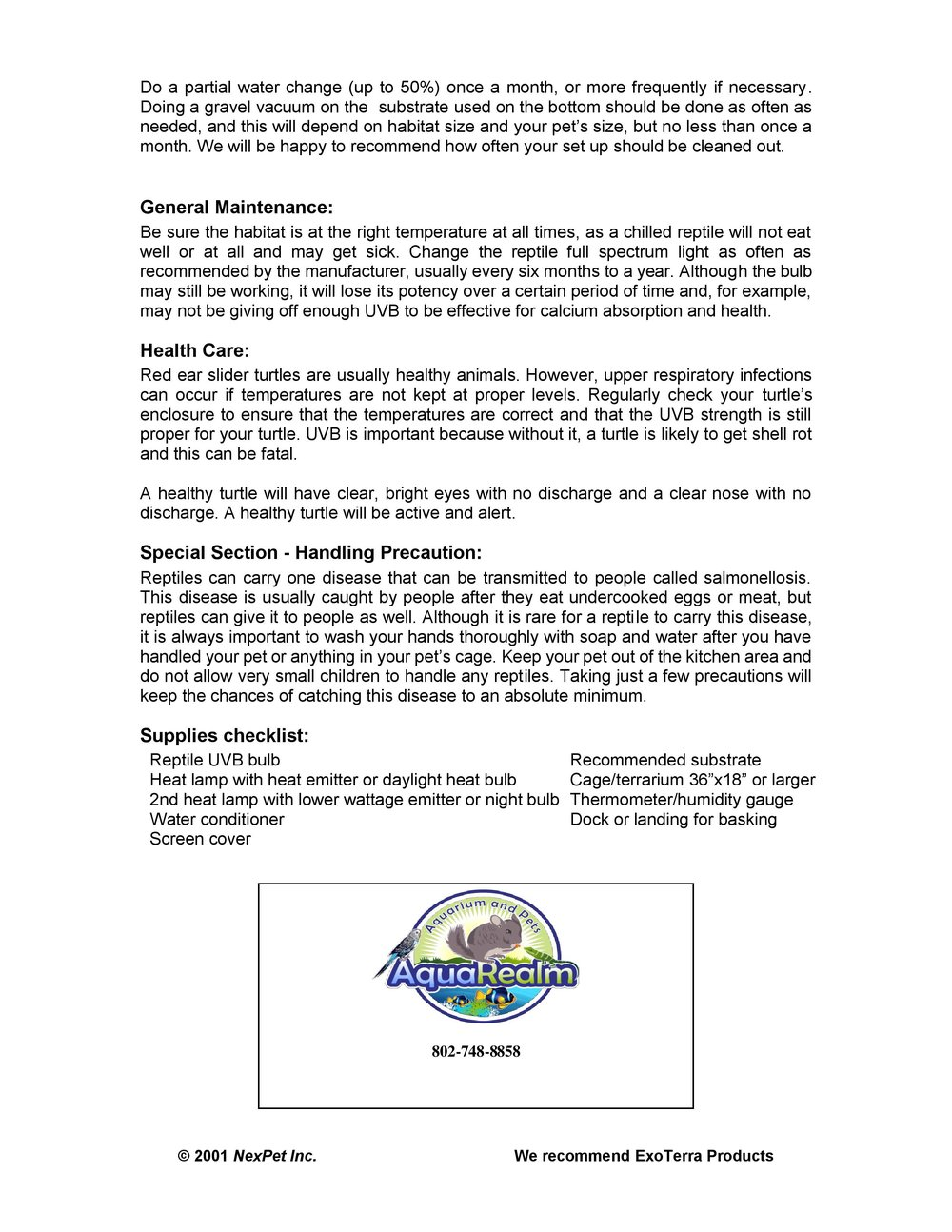 Red Eared Slider Care Sheet pg2
