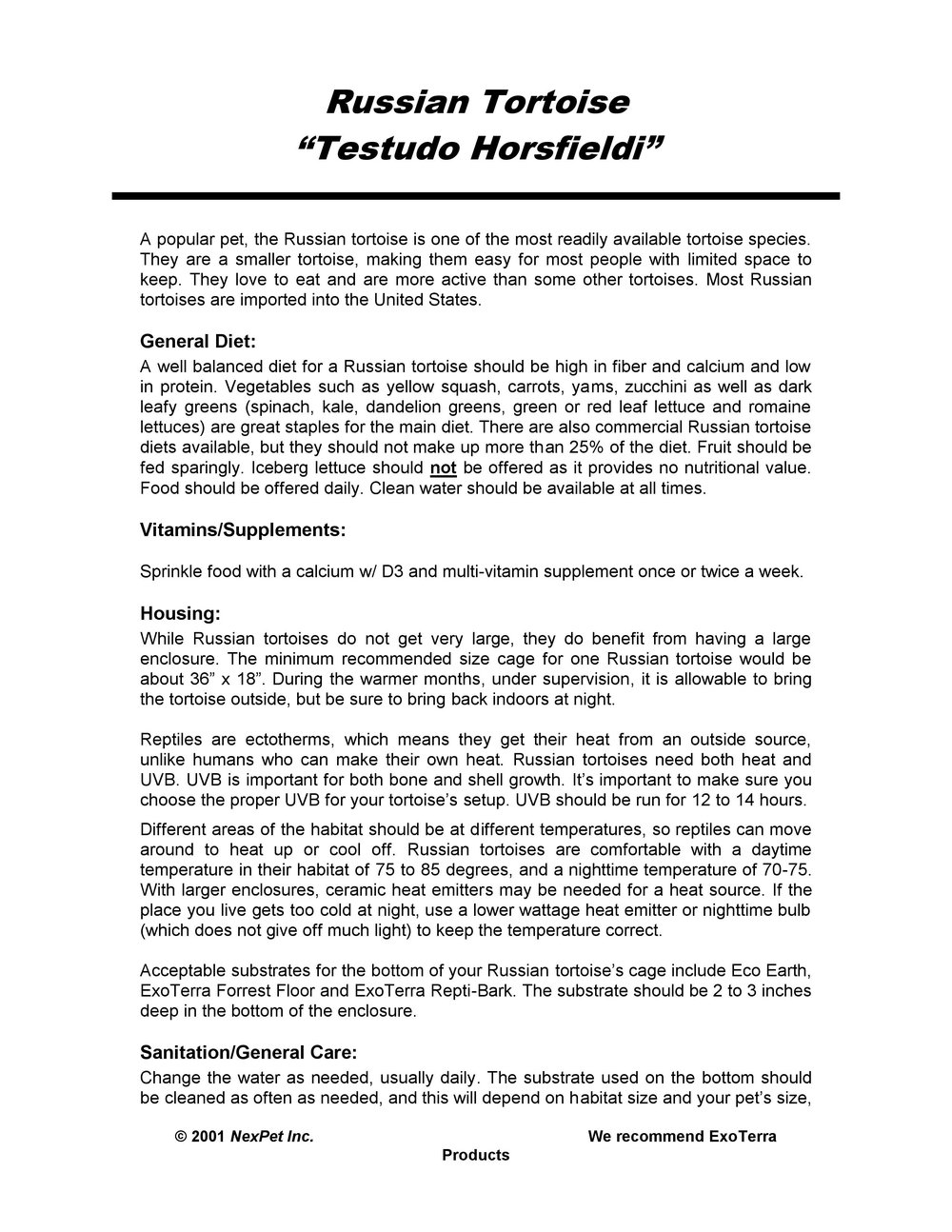 Russian Tortoise Care Sheet pg1