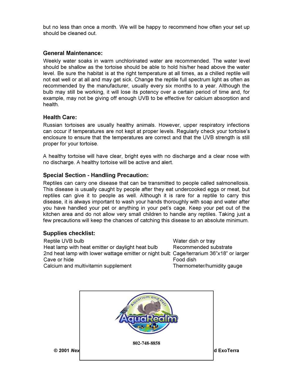Russian Tortoise Care Sheet pg2