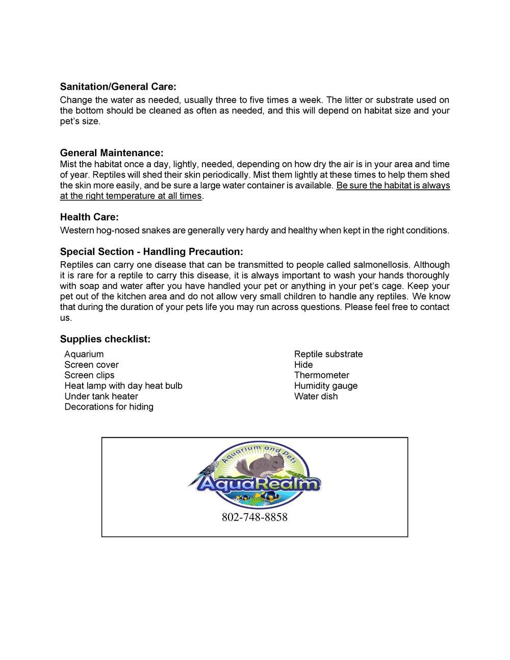 Western Hog Nosed Snake Care Sheet pg2