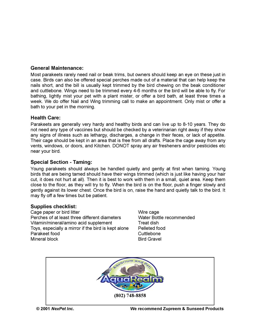 Parakeet Care Sheet pg2