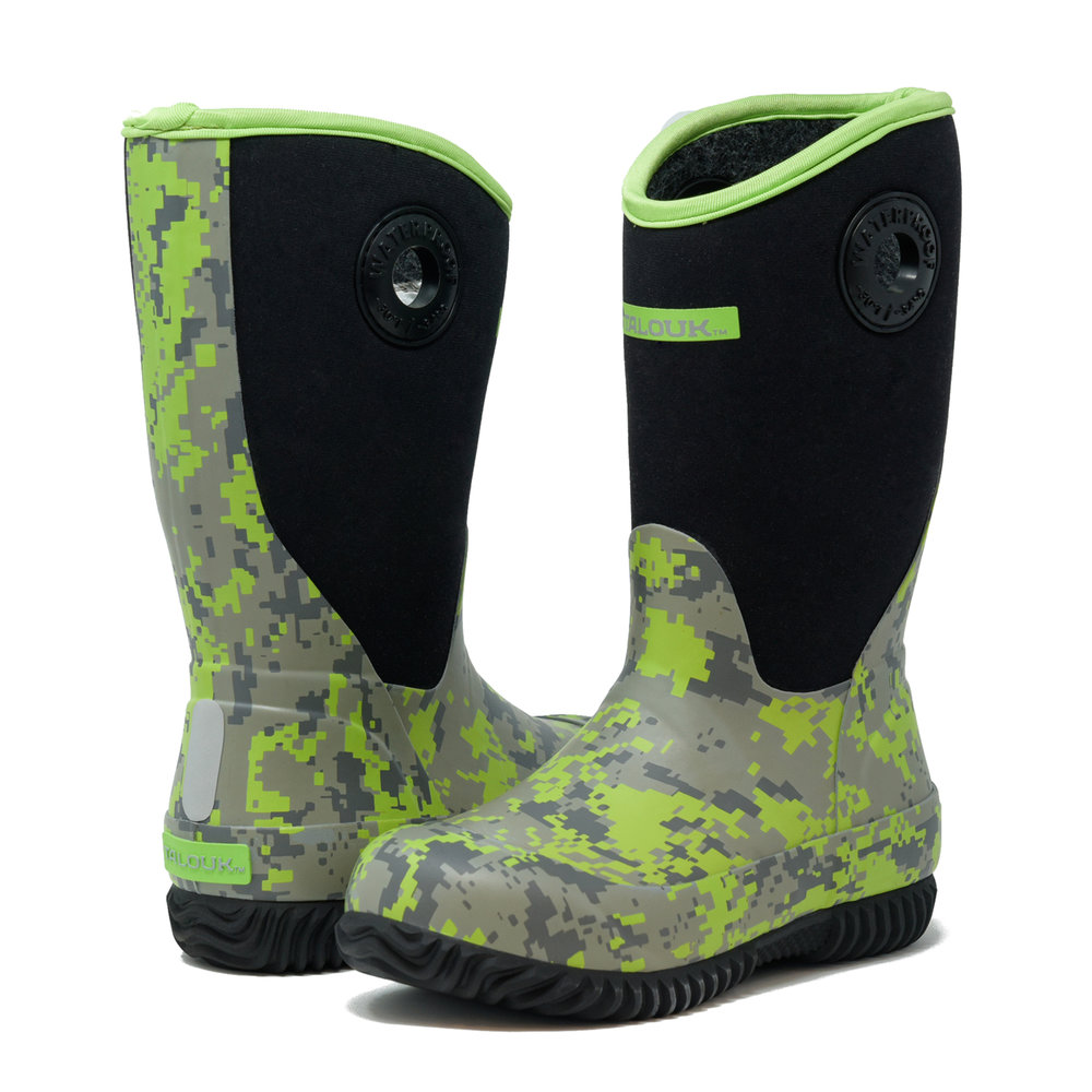 talouk outdoor green camo insulated rubber waterproof rain boots for kids