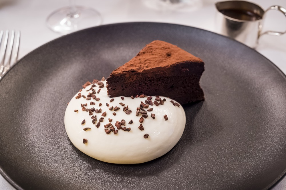 Flourless cappuccino cake,  milk mousse and coffee sauce.jpg