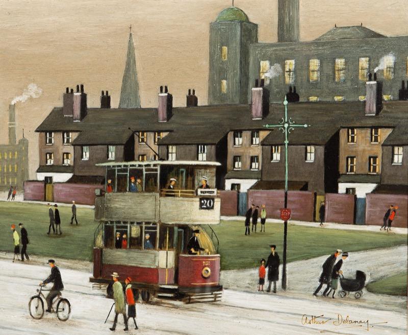 HR HAYNES FINE ART, Arthur Delaney, Northern town with mills.jpg