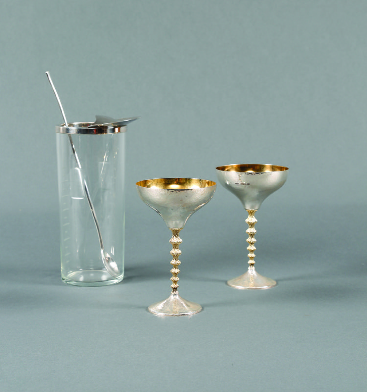 HR STEPHEN KALMS ANTIQUES  Mixer and silver goblets.JPG