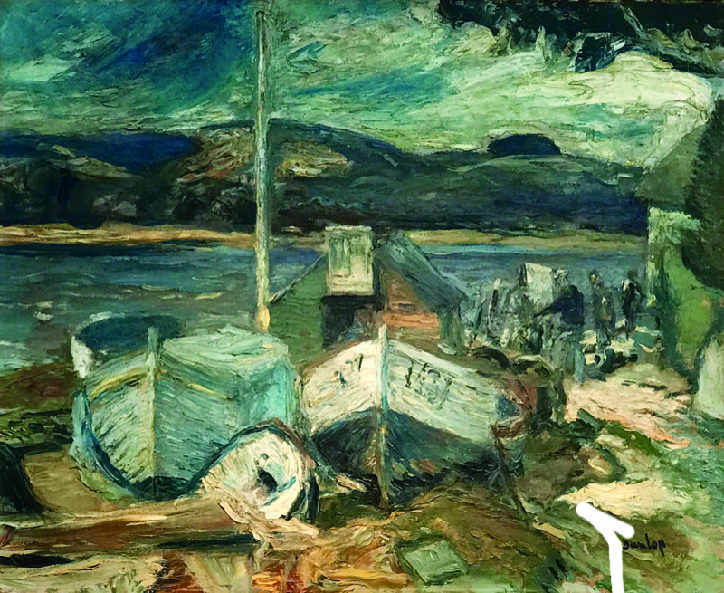 Irish Fishermen and Boats' by Ronald Ossory Dunlop (1894-1973), oil on canvas, £6,400 from Granta Fine Art