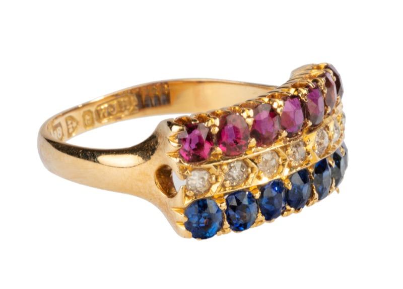 HR T ROBERT 18 ct gold ruby sapphire & diamond ring.jpg