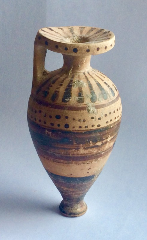 An Etruscan-Corinthian perfumed scent bottle, 5th century BC, £350 from Odyssey Antiquities & Coins.