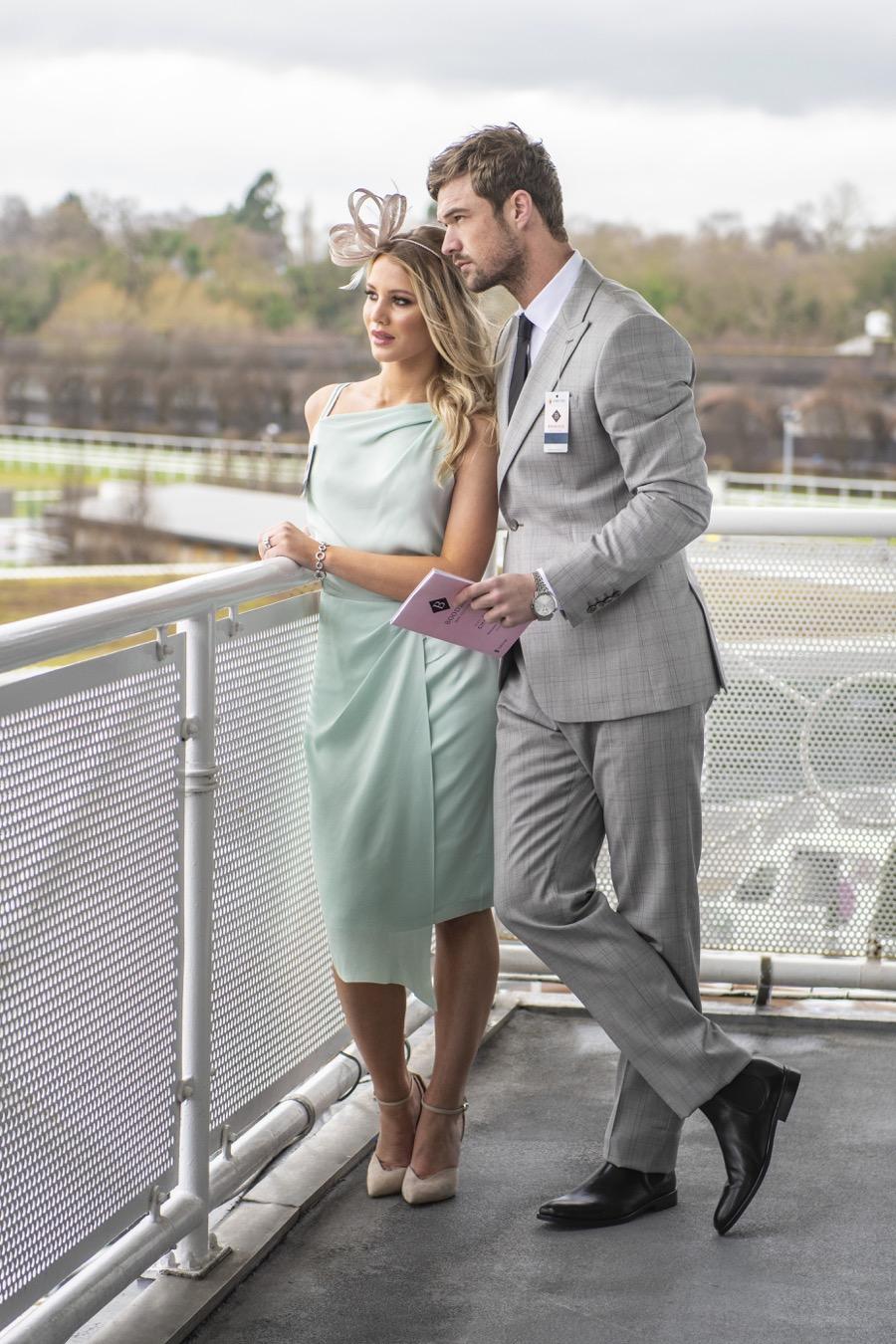 LEFT:  Reiss Dress, £123  (RRP £185);  Reiss Shoes, £95  (RRP £155);  Coast Fascinator, £15  (RRP £45)    RIGHT:  Reiss Suit £245  (RRP £550);  Reiss Shirt, £53  (RRP £80);  Armani Tie, £39  (RRP £59);  Reiss Boots, £130  (RRP £195);  Armani Watch, £161  (RRP £249)
