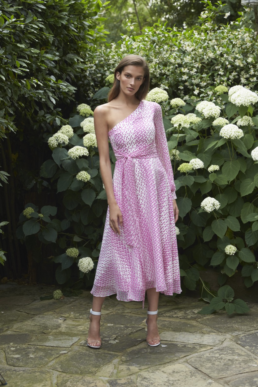 Valeria Magenta Spotted Chiffon Dress £1,595