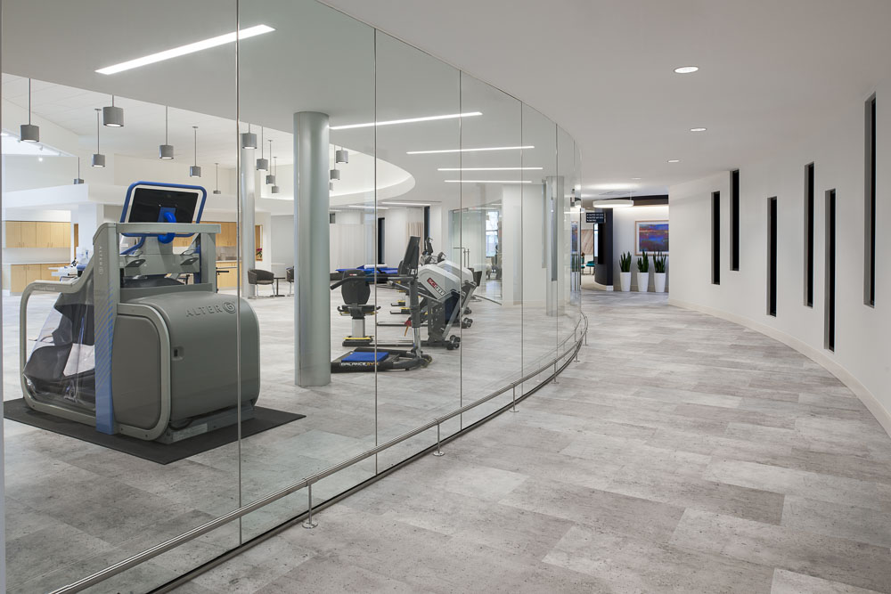 A Therapy Gym with expanses of glass walls and state of the art equipment.