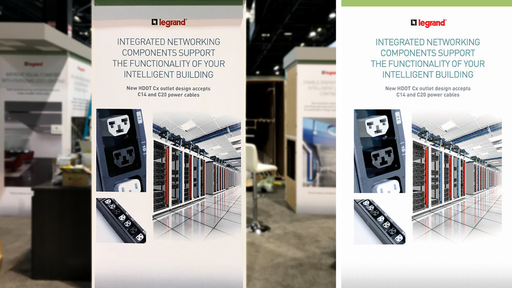 Legrand Greenbuild Tradeshow 2018 - Booth Panel compared to Design