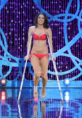 Miss Puerto Rico in Swimsuit on crutches!
