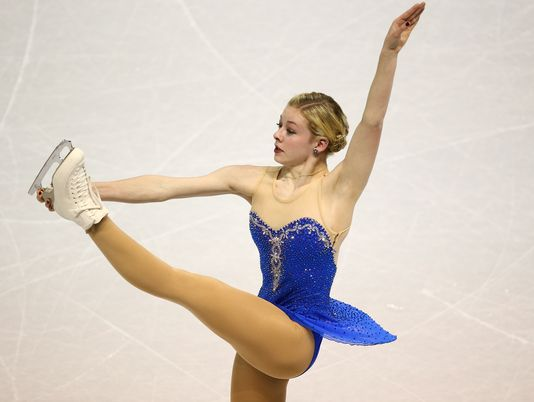 Gracie Gold at 2013 World Championships by Tom Sczerbowski at USA Today-Sports
