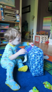 Carston gifted Quenton more bristle blocks