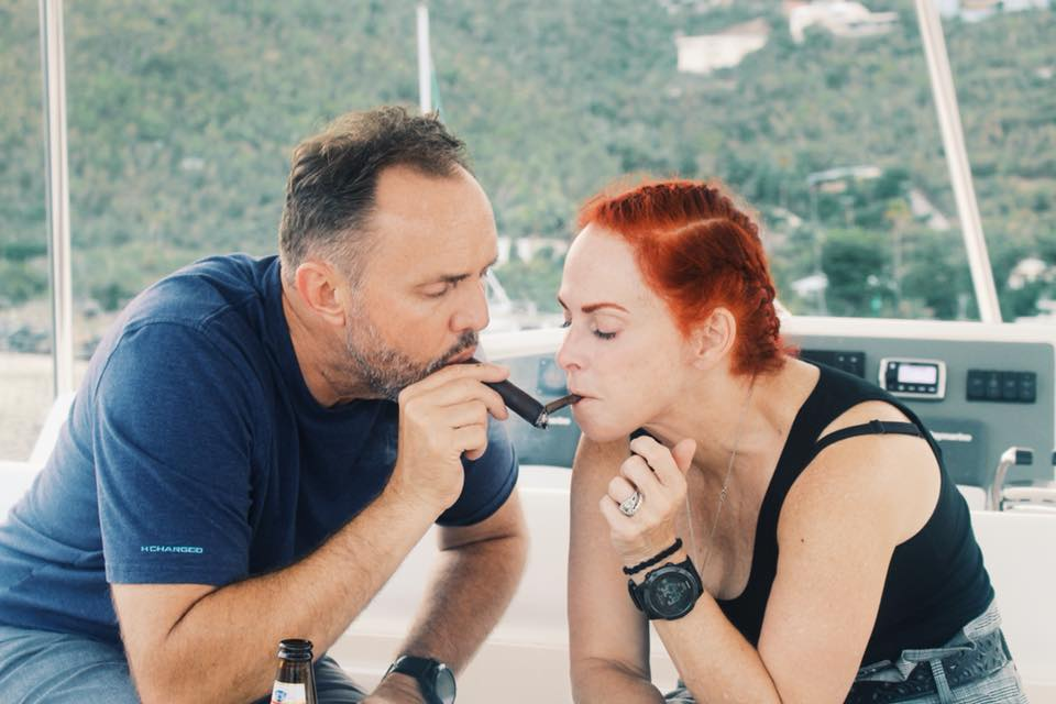 Sharing a cigar Kiss with my favorite man… -