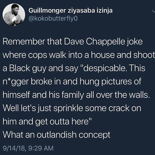 "💁🏾‍♂️Unfortunately it's not a joke. It's Black People's reality. This is why Kap kneeled. 🗣""THIS IS AMERICA!"" (👈🏾Read in @childishgambino voice) . . . . . .  Follow @blkgldculture . . . . . . . #blackmenmatter #davechapelle #blackfather #childishgambino #ThisIsAmerica  #blackbusinessowner #blackentrepreneur #blackexcellence# #barackObama #supportblackownedbusinesses #blackdollarsmatter #blacklivesmatter #blacklove #blackgirlsrock #blackart #blackpride  #blackgirlsrock #buyblack #blackpower #melanin #melaninpoppin #blackgrads #HBCU"