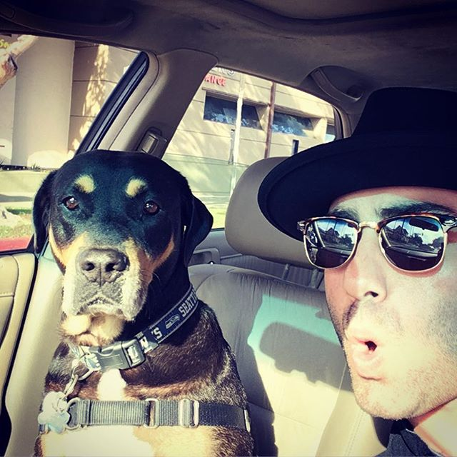 Jeremy and Thurman the dog