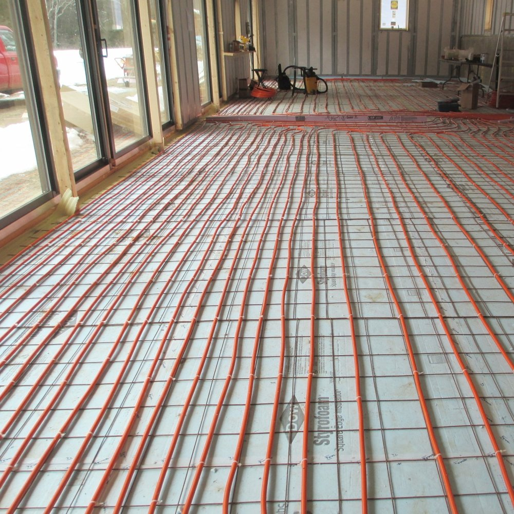 radiant tubing for the concrete floor