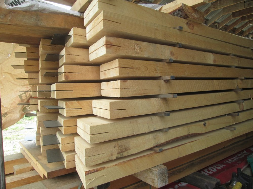 - Solid pine timbers with low embodied energy: locally harvested and milled, low transportation energy, minimally processed
