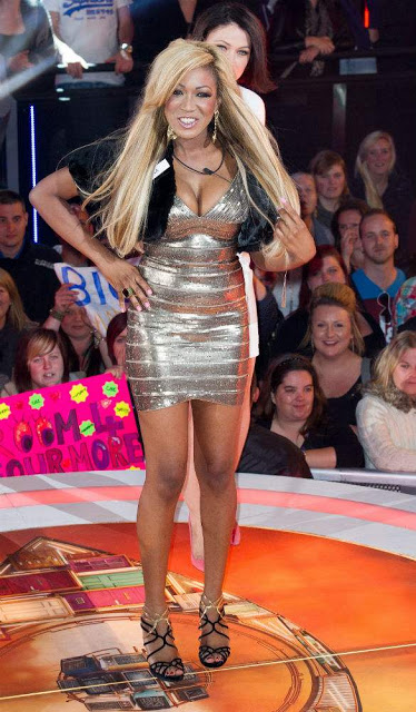 gina rio + georgina rio + hot + body + big brother + the best big brother contestant + uk + british + london + rich + herve leger dress gold + jimmy choo + blonde + fur.jpg