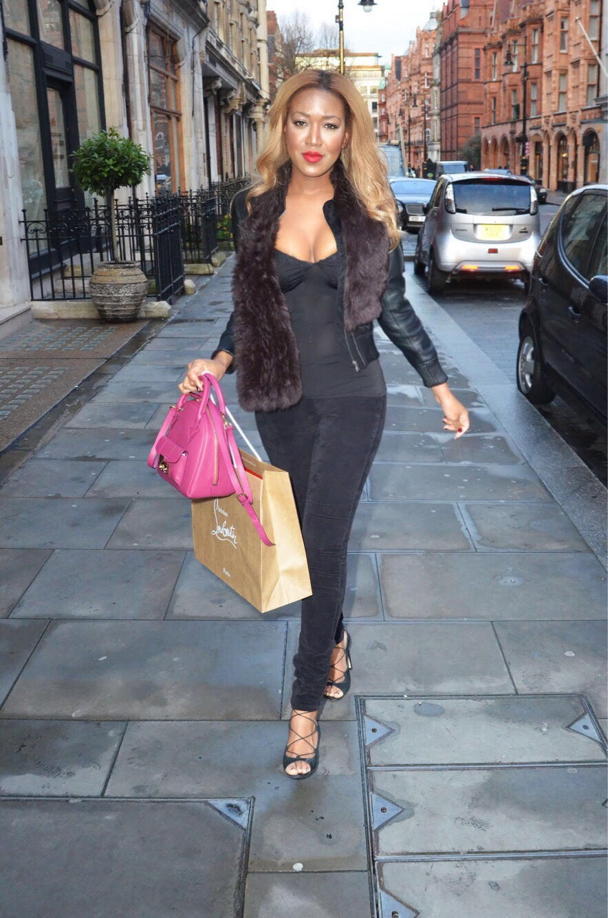 gina rio + georgina rio + papped photo + mount street + louboutin + criss cross heels + lace up + sexy + figure + body + fur + blonde + black + hot girl + big brother + celebrity +favourite.jpg