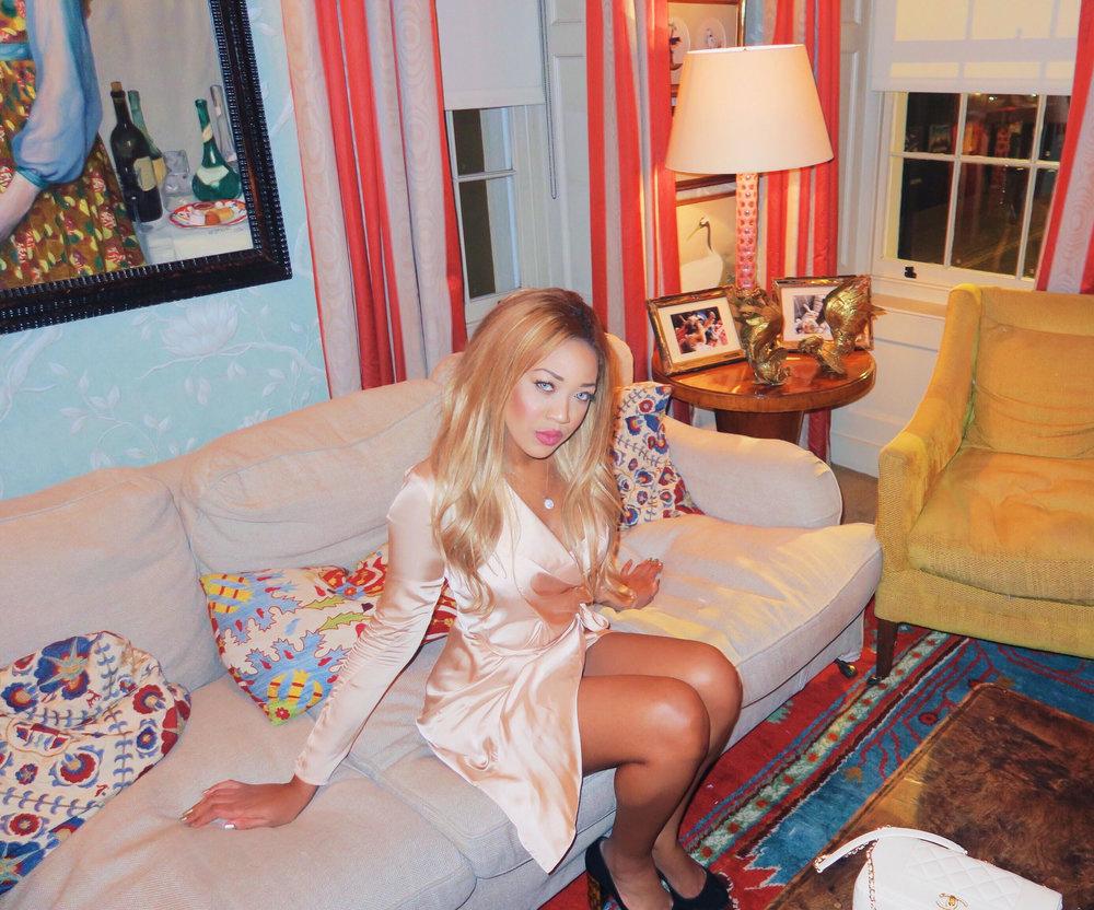 gina rio + georgina rio + celebrity + mayfair + lou lous + 5 hertford street + memebers club + silk dress + blush + hot + sexy + dress + date dress + victoria secret + outfit + fashion.jpg