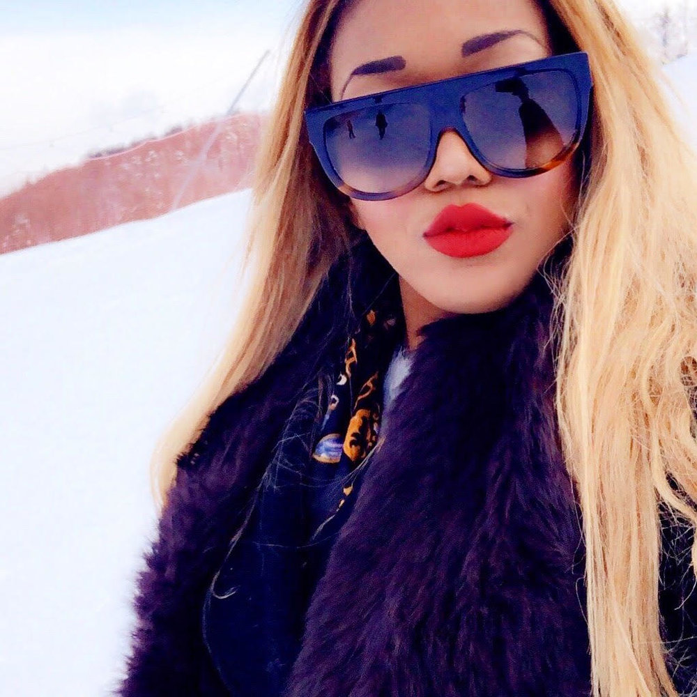 beauty + celine sunglasses + mac red lipstick ruby woo + review + blonde + view + limone piemonte + travel + travel diary + mountains + snow + vlogger + blogger .jpg