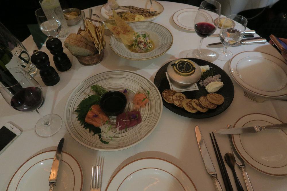 Lobster ceviche, Sashimi sushi, Caviar, Dover Sole