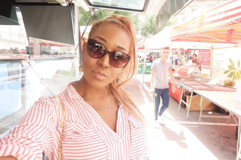 beziers flower market + south of france + food market + hair up ponytail + tifanny sunflasses tortoishell + prada bag + happy .jpg
