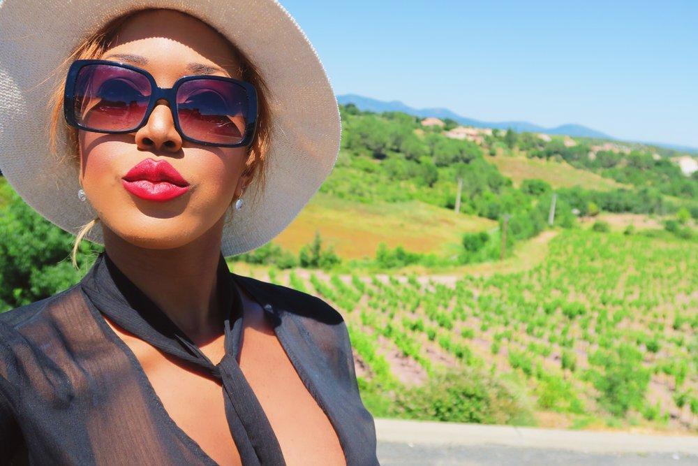 style + fashion + chanel sunglasses + hat + isabel marant frill skirt black + statement ring + ruby woo listick + mac + diamonds.jpg
