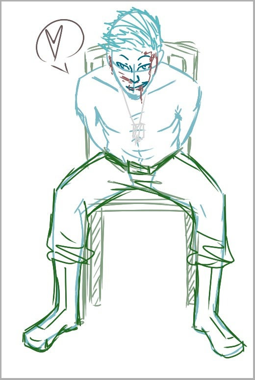In the first step, I always work out the loose positioning of the body. I almost always do this in a vague color, and each character has their own special color I use for their WIP lines. Cain's is light blue, even for this picture which was for a military AU. After the body lines I'll start sketching everything in different colors to tell it apart, usually on various layers as needed. Small details will also go in here, like the heart bubble and blood.