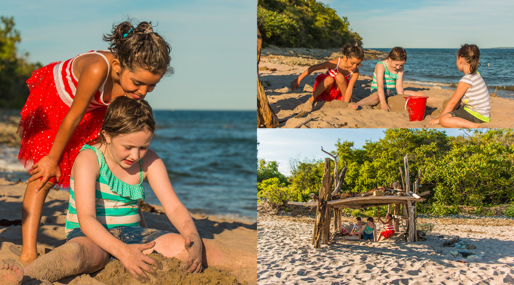 Playing in the sand and the driftwood house... August 7, 2015